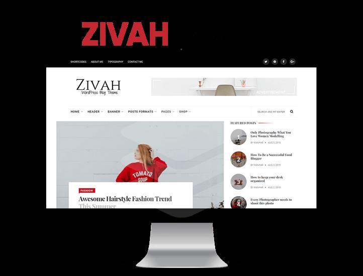 Zivah wordpress theme in iMac pro